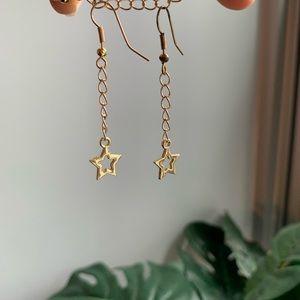handmade gold chain star earrings